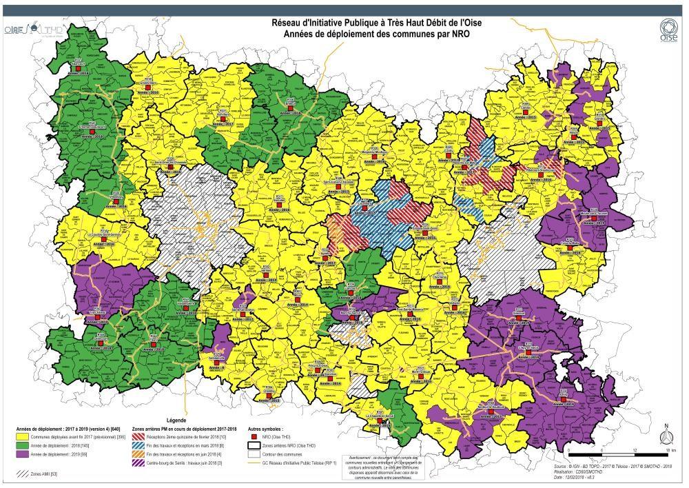 Oise THD - La carte du département de l'Oise avec les zones rurales fibrées